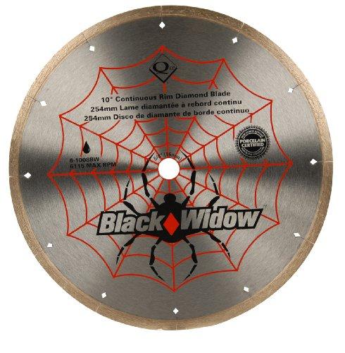 "QEP 6-1008BW Black Widow 10"" Wet Tile Saw Micro-Segmented Diamond Blade for Porcelain, Marble, Granite & Ceramic Tile, 5/8"" Arbor, Wet Cutting, 6115 Maximum Rpm"