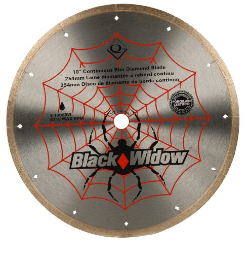 "QEP 6-1008BW Black Widow 10"" Wet Tile Saw Micro-Segmented Diamond Blade for Porcelain, Marble, Granite & Ceramic Tile, 5/8"" Arbor, Wet Cutting, 6115 Maximum Rpm"