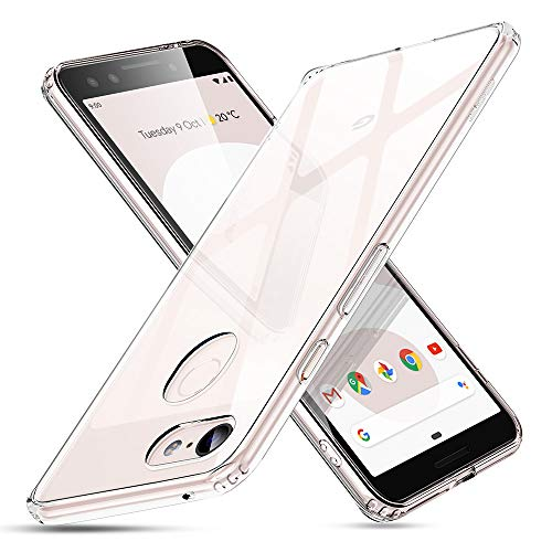 ESR Google Pixel 3 Case, 9H Tempered Glass Back Cover Case  Anti-Scratch] with Soft Silicone Bumper Compatible for The 2018 Google Pixel 3 (Clear)