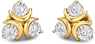 Candere by Kalyan Jewellers Yellow Gold and Diamond Stud Earrings for Women