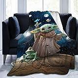 BOLDROLE Baby Yoda Blanket Super Soft Flannel Throw Blankets 50x40Inch Decorative Bedspread Star Wars The Mandalorian Fleece Plush Throw Blanket All Season for Couch Bed Sofa