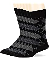 Men Dress Argyle Cotton Socks - 6 Pack Black Large - Casual Seamless Size 10-13 Black
