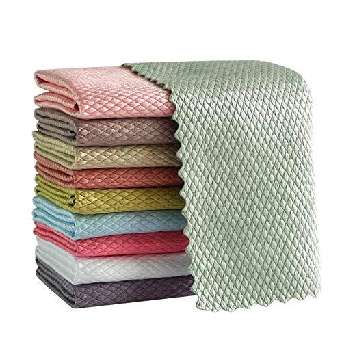ZQDL 5/10 unids patrón de onda de pescado tela trapo 30x40 cm agua absorbible vidrio cocina paño de limpieza toallitas para ventana de mesa