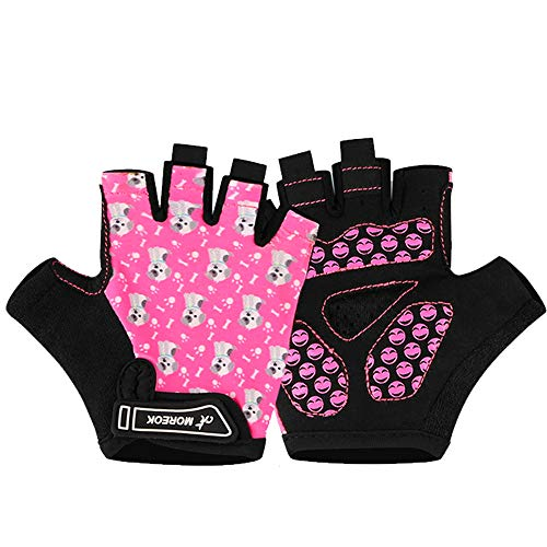 MOREOK Kids Cycling Gloves,Gel Padding Bicycle Half Finger Pair Dog Bars, Fit Boy Girl Youth Age 2-11, Outdoor Sport Road Mountain Bike Gloves Pink-L