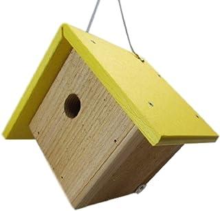 JCs Wildlife Cedar & Poly Wren, Chickadee, Warbler Birdhouse, Yellow Roof