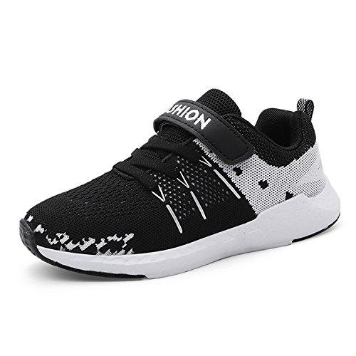 Unpowlink Kinder Schuhe Sportschuhe Ultraleicht Atmungsaktiv Turnschuhe Klettverschluss Low-Top Sneakers Laufen Schuhe Laufschuhe für Mädchen Jungen 28-37, Schwarz, 33 EU