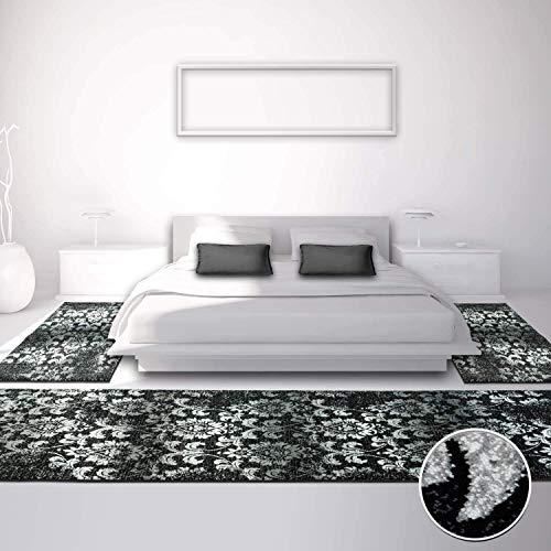 Bettumrandung für Schlafzimmer, Flachflor in Schwarz/ Weiß mit Klassischen Design/ Ornamenten-Motiv/ Florales Muster, 3-teilig: Läufer 2x 80x150 cm, 1x 80x300 cm