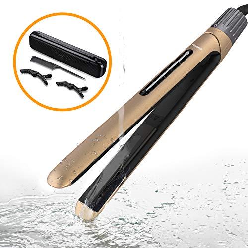 Mixcolor Fer à Lisser/Fer à Friser Professionnel Lisseur Cheveux et boucleur 2 en 1 Plaque Chauffante Cachet Etanche à l'Eau Réchauffement Rapide Température Réglable de 130 à 230℃ Double Voltage