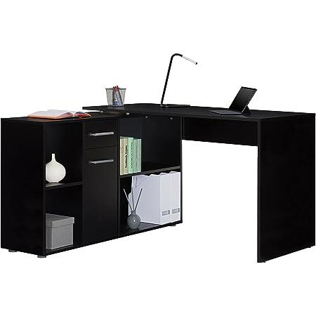 IDIMEX Bureau d'angle Carmen Table avec Meuble de Rangement intégré et modulable avec 4 étagères 1 Porte et 1 tiroir, décor Noir Mat