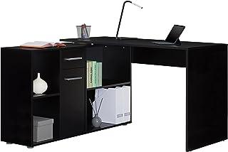 IDIMEX Bureau d'angle Carmen Table avec Meuble de Rangement intégré et modulable avec 4 étagères 1 Porte et 1 tiroir, déco...