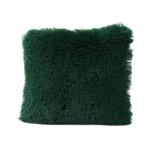 Fxbar Sea Lion Plush Pillow Case, Fuzzy Soft Touch Throw Cushion Cover Home Decor Sofa Waist Pillow Encasement, Multicolor 17x17 Inch (Army Green)