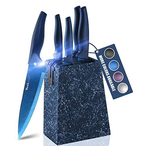 wanbasion Azul Set Cuchillos Cocina Acero Inoxidable, Bloque de Cuchillos Cocina Profesional, Juego de Cuchillos de Cocina con Soporte