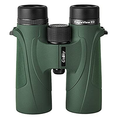 Gosky EagleView 10x42 ED Binoculars for Adults, Professional ED Glass Waterproof Binoculars for Bird Watching Travel Stargazing Hunting Concerts Sports- with Smartphone Mount
