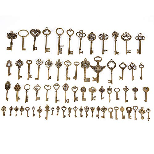 Asixxsix Sample Sizes Heart Bow Jewelry, DIY Accessories Bronze Keys, Special 69 Kinds of Looks Decorative Zippers for Make Bracelets Make Anklets Make Necklaces