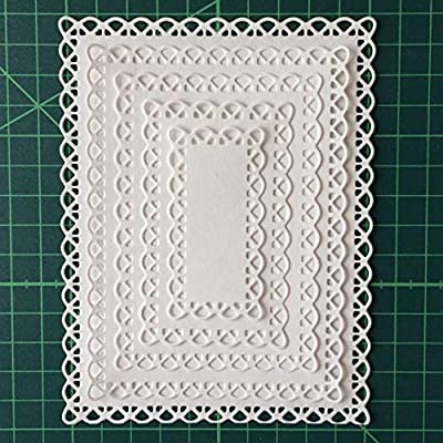 Letmefun Nested Stitched Scallop Rectangle Frame Cutting Dies, Metal Cutting Dies Stencils Metal Cutting Dies Scrapbooking Crafting Paper Card Make Emboss Stencil Templat 10.7X13.9 cm