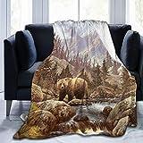 YISHOW Vintage Grizzly Bear Fleece Throw Blanket Plush Soft Throw for Bed Sofa, 80'X60'