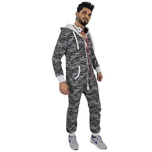 Crazy Age Męski kombinezon z zamkiem błyskawicznym ze wzorem, męski, śpioszki, dresowy, jumpsuit męski, spodnie ogrodniczki, bluza z kapturem