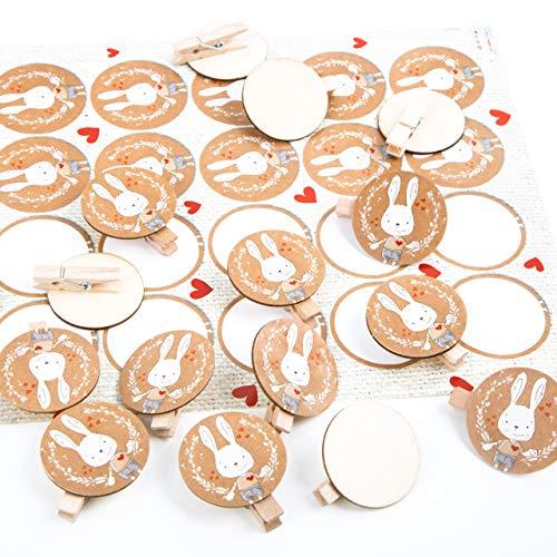 Logbuch-Verlag paasknijpers van hout – houten klemmen + sticker paashaas paasdecoratie versiering verpakking Pasen 24 Stück Paashaas bruin rood wit