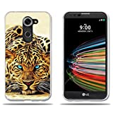FUBAODA für LG X mach/X Fast/K600 Hülle, [Leopard] Transparent Silikon TPU Fashion Kreatives Design 3D zeitgenössischen Chic Slim Fit Shockproof Flexible Stylish Silikon für LG X mach/X Fast/K600
