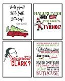 Funny Christmas Movie Wall Art Mix Sign (Set of 4) 8x10in Humorous Decoration Decor (Red)