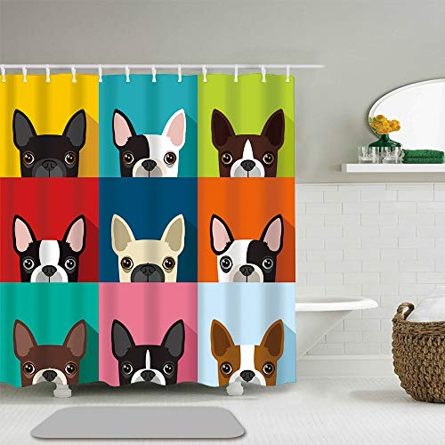 Abili Shower Curtain Brown Fun Boston Terrier Full Color Flat Human Pattern Home Bathroom Decor Waterproof Polyester Fabric 72-Inch by 72-Inch Set with Hooks