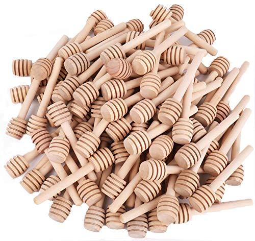 Lawei Paquete de 100 mini palitos de madera para miel, 7,6 cm, para dispensar miel, llovizna, miel y recuerdos de fiesta de boda