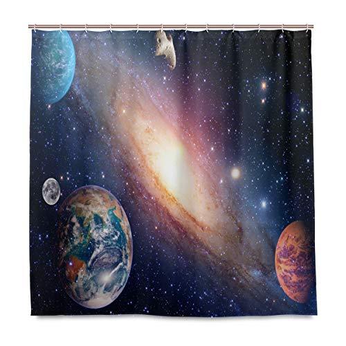 TropicalLife Luckyeah Duschvorhang Planet Galaxy Star Haushalt Wasserdicht Dekorative Badezimmer Gardinen mit Haken für Zuhause Hotel 180 x 180 cm