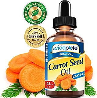 CARROT SEED OIL WILD GROWTH Daucus Carota RAW. 100% Pure VIRGIN UNREFINED Undiluted 0.5 Fl.oz.‐ 15 ml. For Skin, Face, Hair,Lip and Nail Care.bymyVidaPure