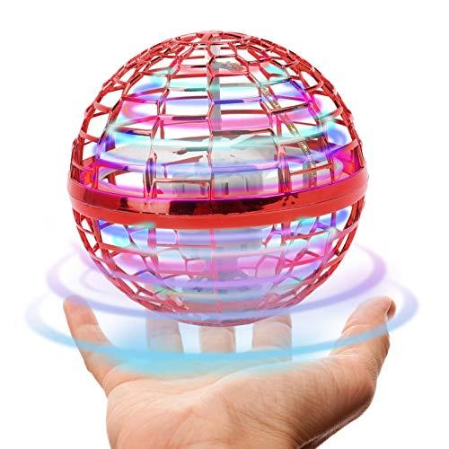ZJchao Mini Drone, Juguete de Dedo Volador Giratorio con luz RGB de Colores, Bumeranes Juguete Volador de Inducción, Juguete de Bolas Voladoras OVNI, Niños (Rojo)