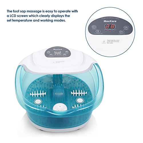 Foot Spa/Bath Massager with Heat Bubbles Vibration 3 in 1 Function, 4 Masssaging Rollers Pedicure Tired Feet Stress Relief Help Sleep Home Use