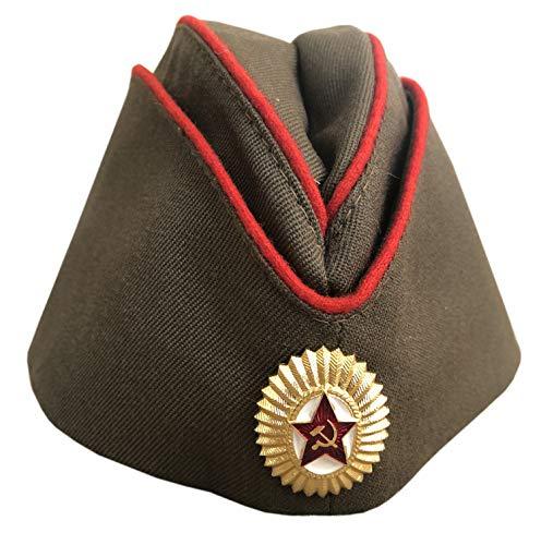 Ganwear® Original russisch-sowjetischer Offizier der UdSSR der Roten Armee WW2 Militär Uniform Pilotka Hut Kappe Abzeichen