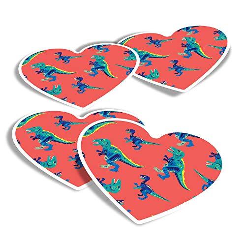 Vinyl Heart Stickers (Set of 4) - T-Rex Pop Art Dinosaur Dino Kids Fun Decals for Laptops,Tablets,Luggage,Scrap Booking,Fridges #14753