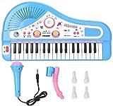 XINRUIBO 37 Instrumento de Piano eléctrico de Teclado, Rompecabezas para niños Piano de Aprendizaje Educativo temprano con micrófono Durante 3 años Piano Infantil (Color : Blue)