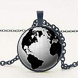 Yaoliangliang Collar Mapa Mundial de la Tierra Seven Ocean Time Glass Collar de Piedras Preciosas Hombres S Cadena Tienda Colgante Collar Foto Collar