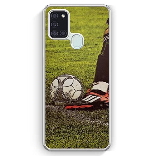 Fußball Schuss - Hülle für Samsung Galaxy A21s - Motiv Design Sport Jungs Männer Herren - Cover Hardcase Handyhülle Schutzhülle Hülle Schale