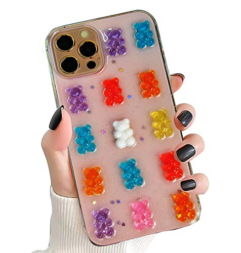 SAMEMO Gummy Bears Cases for iPhone 12/12 Pro,Cute Clear Sparkle Holographic Protective Phone Cases Stylish Soft TPU Anti-Shock Dropproof Back Cover Rubber Gel Case for iPhone 12 6.1 inch
