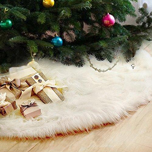 Beenle-Icey Weihnachtsbaum Röcke Plüsch Weihnachtsschmuck Kunstfell Weiß Weihnachten Baum Rock Urlaub Baum Ornamente Dekoration für Weihnachten (90cm)