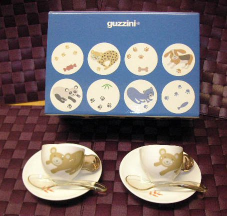Guzzini Set 2 Espressotassen+Loeffeln Bear FRA Art & Cafè