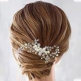 IWILCS Pieza para el pelo de novia, accesorios para el pelo de novia, peineta para el pelo de novia, alfileres para el pelo de boda, con cristales, diadema plateada para mujeres y niñas