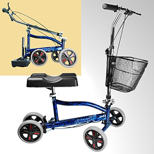 New Age Living Blue Knee Scooter with Basket | Portable Folding Walker Design for Adults | Fully Adjustable to Accomodate Surgery Or Injury (Premium Blue)