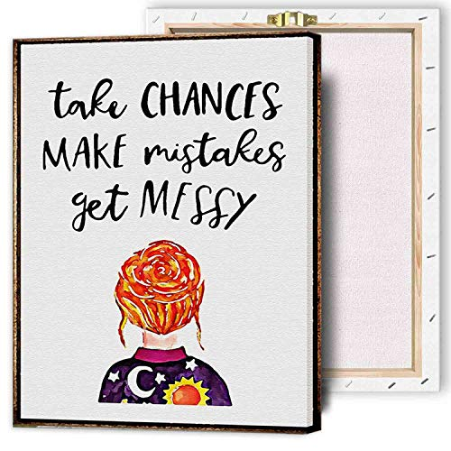 IXMAH - Ms Frizzle Motivational Quote Poster - Take Chances Make Mistakes Get Messy Inspirational Quote - 16x24 FRAMED Print Wall Decor - Great Children Gift For Fans Of The Magic School Bus TV Show