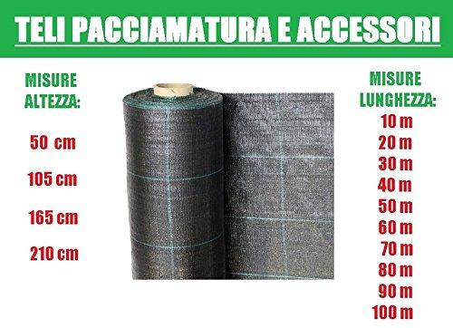 ITALFROM Teli Telo per PACCIAMATURA Nero QUADRETTATO Tessuto Polipropilene ANTISTRAPPO - mt 40 x 1,05 h