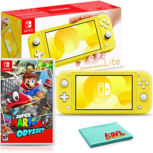 Nintendo Switch Lite (Yellow) Console Bundle with Super Mario Odyssey Game and 6Ave Cleaning Cloth