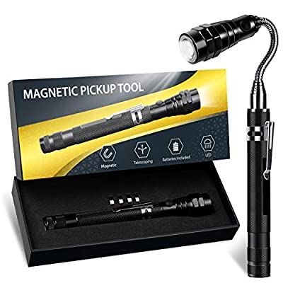 Magnetic Pickup Tool with LED Lights, A Must Tool Gift with Box for Men Who Have Everything, DIY Handyman, Father/Dad, Women, Telescopic Magnet Cool Gadget to Hard Reach Place from PASTACO