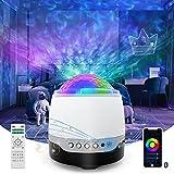 Maxuni proyector estrellas, LED de Luz Nocturna con control remoto y altavoz de música Bluetooth,Iluminación Nocturna para con Temporizador,Proyector de Estrellas Fiesta