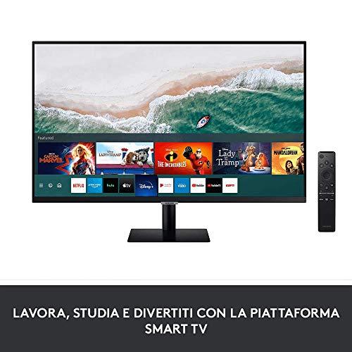 """Samsung Monitor Smart M5 da 27"""", 16:9, Full HD, TV Smart Hub, WiFi, HDMI, USB, No TV Tuner + Logitech K400 Plus Tastiera Wireless per TV, PC, Home Theater, Tasti Personalizzabili, Windows, Android"""