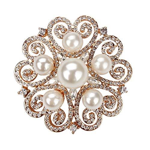 WANGJINQIAO Rhinestones de Cristal Perla Artificial Joyería Floral Pines Hombres y Mujeres Joyería Decorativa de Moda Broche (Color : Gold)