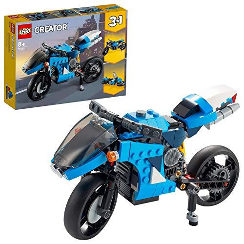 LEGO Creator 3 in 1 Superbike, Moto Classica e Hoverbike, Veicoli Giocattolo, Costruzioni per Bambini, 31114