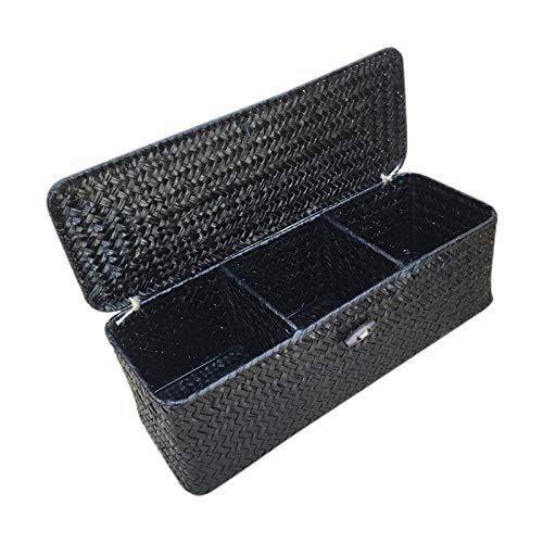 Runtodo Caja de Almacenamiento de 3 Compartimentos Cesta de Mimbre de Mimbre con Tapa MisceláNeas Soporte Caja Contenedor Organizador de Escritorio