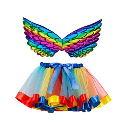 Daygeve Mädchen Tutu Rock, Weihnachtsfeier Tanz Ballett Kleinkind Kostüm Pettiskirt Minirock Dancewear Rock + Flügel Sets für 2-11 Jahre